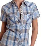 半袖 ウエスタンシャツ ブルー/Western Shirt Short Sleeve(Women's)