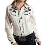 ローパー 刺繍 ウエスタンシャツ ホワイト(長袖/レディース)/Roper Long Sleeve Western Shirt(Women's)