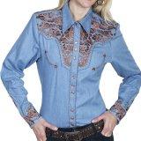スカリー 刺繍 ウエスタン シャツ(長袖/ライトブルー)/Scully Long Sleeve Western Shirt(Women's)