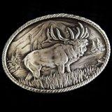 モンタナシルバースミス アウトドア ベルト バックル ワイルド エルク/Montana Silversmiths Wild Elk Carved Belt Buckle