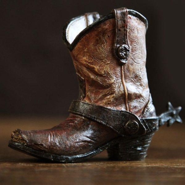 画像1: ウエスタンブーツ型 ペンホルダー(ブラウン)/Western Boot Pen Holder