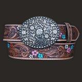 ジャスティン フローラル レザーベルト(ブラウン)/Justin Floral Leather Belt