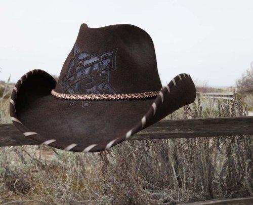 画像クリックで大きく確認できます Click↓1: PBR プロフェッショナル ブルライダース ウール カウボーイ ハット(ブラウン)/PBR Cowboy Hat(Brown)
