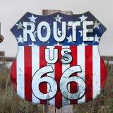 ルート66 アメリカンフラッグ メタルサイン/Metal Sign Route 66