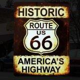 ヒストリック ルート66 アメリカ ハイウェイ メタルサイン/Metal Sign Route 66