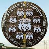 ルート66 8州 ブラックトップ メタルサイン/Metal Sign Route 66