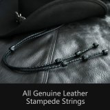 レザー スタンピード ストリングス ブラック(ハット用あごひも)/Leather Stampede Strings