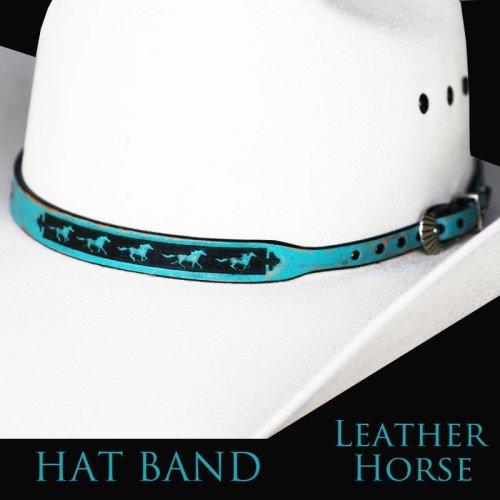 画像クリックで大きく確認できます Click↓1: ホース レザー ハット バンド(ターコイズ)/Leather Hat Band(Horse Turquoise)