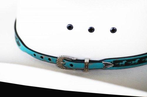 画像クリックで大きく確認できます Click↓3: ホース レザー ハット バンド(ターコイズ)/Leather Hat Band(Horse Turquoise)