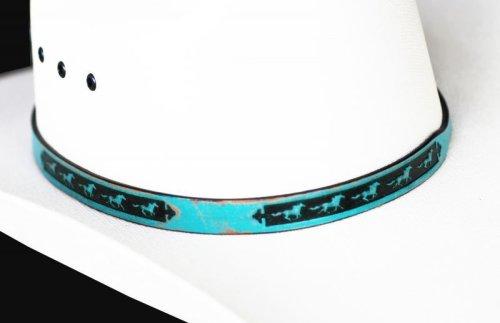 画像クリックで大きく確認できます Click↓2: ホース レザー ハット バンド(ターコイズ)/Leather Hat Band(Horse Turquoise)