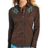 パンハンドルスリム 刺繍&ラインストーン ウエスタンシャツ ブラウン・ターコイズ(長袖/レディース)/Panhandle Slim Long Sleeve Western Shirt(Women's)