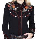 スカリー 刺繍 ラインスト-ン ウエスタン シャツ(長袖/ブラック ブーツ・ギター・ハット)/Scully Long Sleeve Western Shirt(Women's)