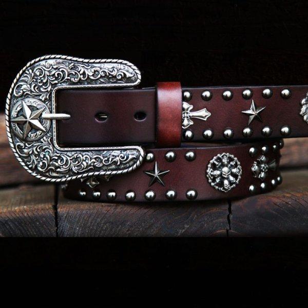 画像1: ローンスターバックル レザー ベルト(ブラウン)/Leather Belt(Brown)