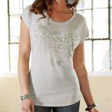 レディース 半袖Tシャツ スタッズイーグル グレーバイオレット/Women's Western T-shirt