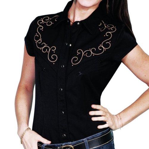 画像クリックで大きく確認できます Click↓1: スカリー 刺繍 スクロール ウエスタン シャツ ブラック キャップスリーブ/Scully Western Shirt(Women's)