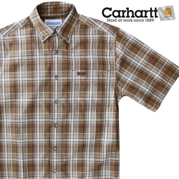 画像1: カーハート 半袖 シャツ(ブラウン)/Carhartt Plaid Shortsleeve Shirt(Brown)
