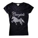 カウガール ホース ラインストーン ウエスタン Tシャツ ブラック(半袖)/Women's Western T-shirt