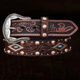 ウエスタン レザー ベルト(ブラウン・ターコイズ)/Western Leather Belt