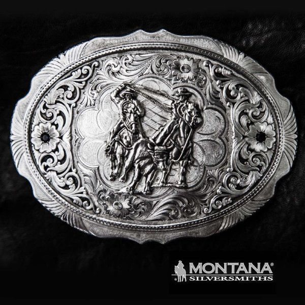 画像1: モンタナシルバースミス ウエスタン ベルト バックル チームローパー/Montana Silversmiths Belt Buckle