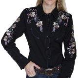 スカリー フローラル刺繍 ラインストーン ウエスタン シャツ(長袖/ブラック)/Scully Long Sleeve Western Shirt(Women's)