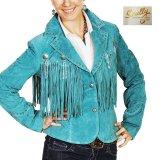 スカリー レディース フリンジ レザー ジャケット(ターコイズ)/Scully Leather Fringe Jacket(Women's)