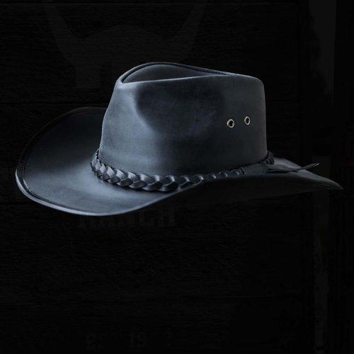 画像クリックで大きく確認できます Click↓1: ブラック バッファロー カウボーイ ハット/Genuine Leather Cowboy Hat(Black)