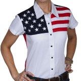 スカリー USA アメリカ国旗シャツ(キャップスリーブ/アメリカンフラッグ)/Scully Western Shirt(Women's)