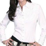 スカリー 刺繍 ウエスタンシャツ(長袖/ホワイト・ホワイト)/Scully Long Sleeve Western Shirt(Women's)