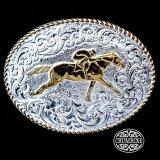クラムライン ベルト バックル ホース(ゴールド・シルバー)/Crumrine Belt Buckle(Rope Edge/Race Horse)