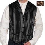 スカリー オールドウエスト ベスト(ストライプブラック)/Scully Old West Stripe Vest (Black)