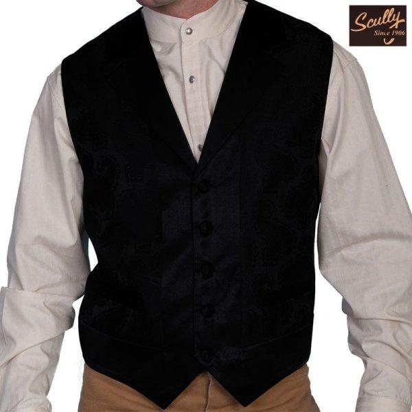 画像1: スカリー オールドウエスト ベスト(ペイズリーブラック)/Scully Old West Paisley Vest (Black)
