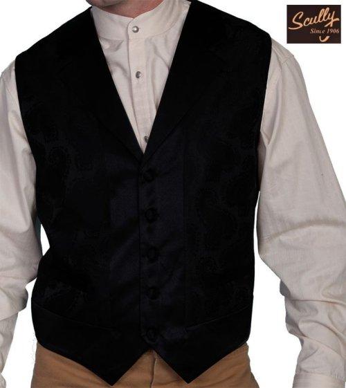 画像クリックで大きく確認できます Click↓1: スカリー オールドウエスト ベスト(ペイズリーブラック)/Scully Old West Paisley Vest (Black)