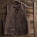 スカリー ウエスタンヨーク ラムレザー ベスト(ブラウン)/Scully Leather Vest