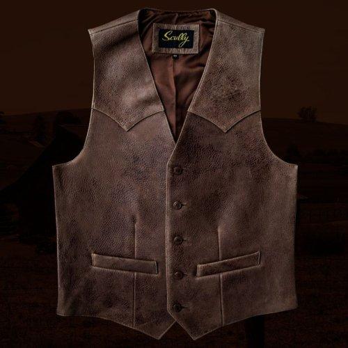 画像クリックで大きく確認できます Click↓1: スカリー ウエスタンヨーク ラムレザー ベスト(ブラウン)/Scully Leather Vest