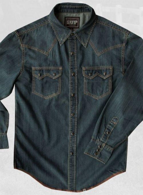 画像クリックで大きく確認できます Click↓2: ビンテージウォッシュ ウエスタン デニム シャツ(インディゴ)/Western Denim Shirt