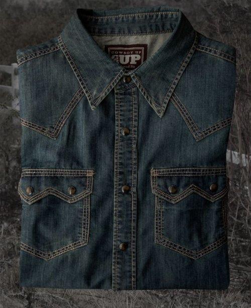 画像クリックで大きく確認できます Click↓1: ビンテージウォッシュ ウエスタン デニム シャツ(インディゴ)/Western Denim Shirt