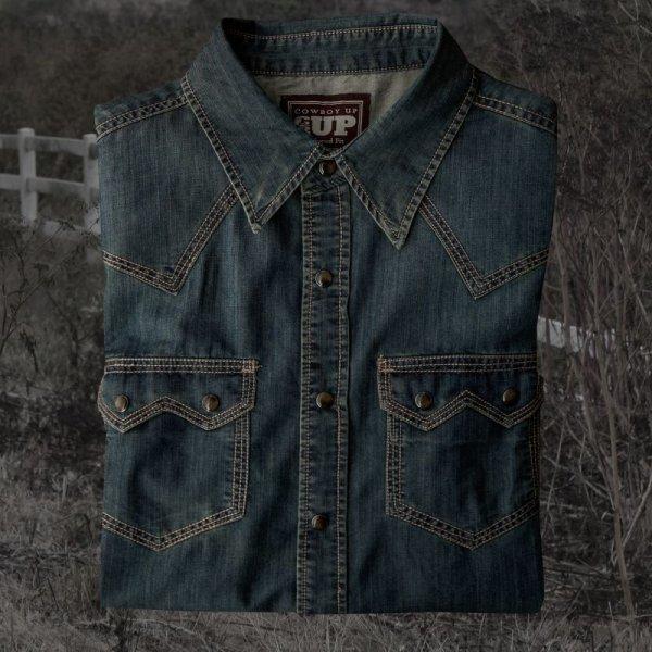 画像1: ビンテージウォッシュ ウエスタン デニム シャツ(インディゴ)/Western Denim Shirt