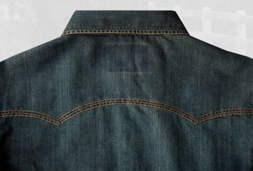 画像クリックで大きく確認できます Click↓3: ビンテージウォッシュ ウエスタン デニム シャツ(インディゴ)/Western Denim Shirt