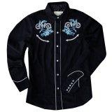 ローパー 刺繍 ウエスタンシャツ ブラック・ブルーローズ(長袖/レディース)/Roper Long Sleeve Western Shirt(Women's)