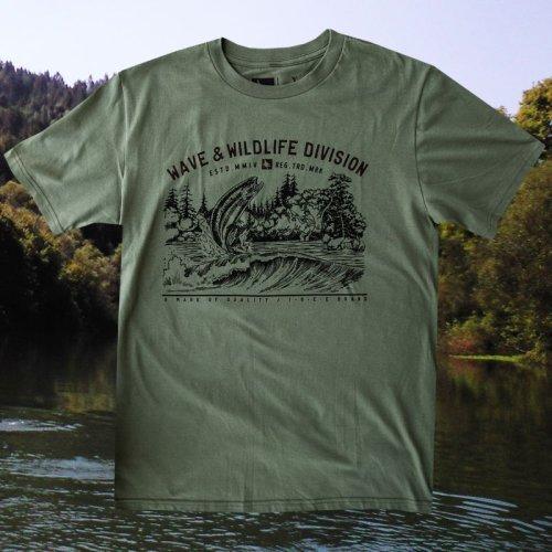 画像クリックで大きく確認できます Click↓2: フィッシング オーガニックコットン 半袖 Tシャツ(ミリタリー)S/Bait T-shirt (Military)
