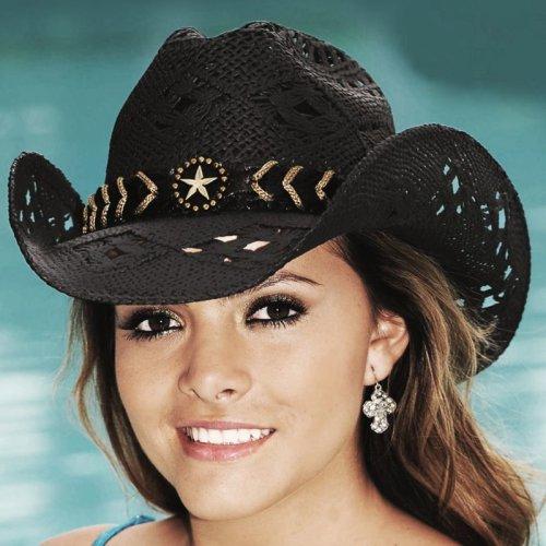 画像クリックで大きく確認できます Click↓1: ブルハイド ウエスタン ストローハット ノーティガール(スター・ブラック)/Bullhide Western Straw Hat Naughty Girl(Black)