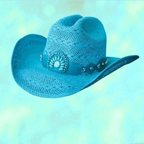 画像クリックで大きく確認できます Click↓1: ブルハイド ウエスタン ストローハット イッチィグーニー(ターコイズブルー)/Bullhide Western Straw Hat Itchygoonie(Blue)