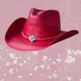 ラインストーンフラワー&スタッズ ウエスタン ストロー ハット(レッド)/Western Straw Hat(Red)