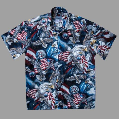 画像クリックで大きく確認できます Click↓3: アメリカンイーグル&アメリカンフラッグ 半袖シャツ/Short Sleeve Shirt