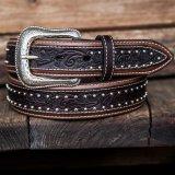 ウエスタン レザーベルト(オーバーレイダークブラウン・ブラウン)/Western Leather Belt