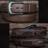 ウエスタン レザーベルト(ブラウン オーバーレイ&コンチョ )32/Western Leather Belt