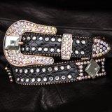 ラインストーン コンチョ スリーピース レザーベルト(ダークブラウン)/Western Leather Belt