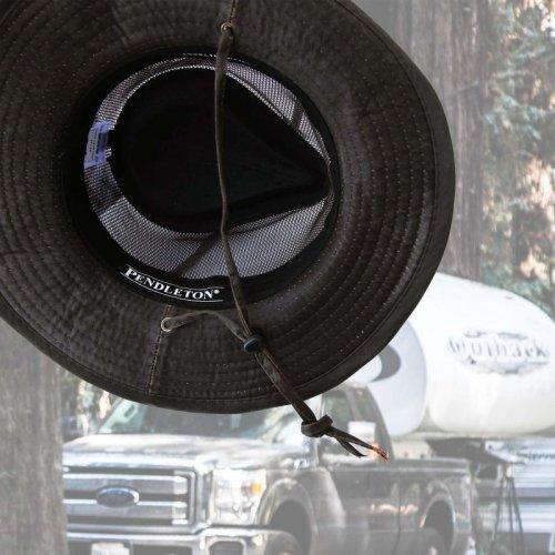画像クリックで大きく確認できます Click↓2: ペンドルトン メッシュ アウトバックハット(ダークブラウン)/Pendleton Weathered Cotton Mesh Outback Hat(Tobacco)