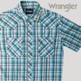 ラングラー 半袖 ウエスタンシャツ ターコイズブルーM/Wrangler Short Sleeve Western Shirt