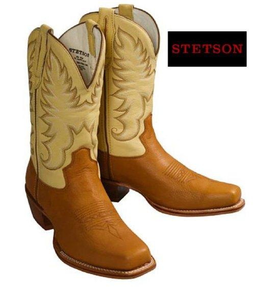 画像クリックで大きく確認できます Click↓1: ステットソン ウエスタンブーツ(タン・クリーム)/Stetson Western Boots(Tan/Cream)